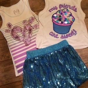 Fit like suze 6/7 justice shirts & skirt bundle